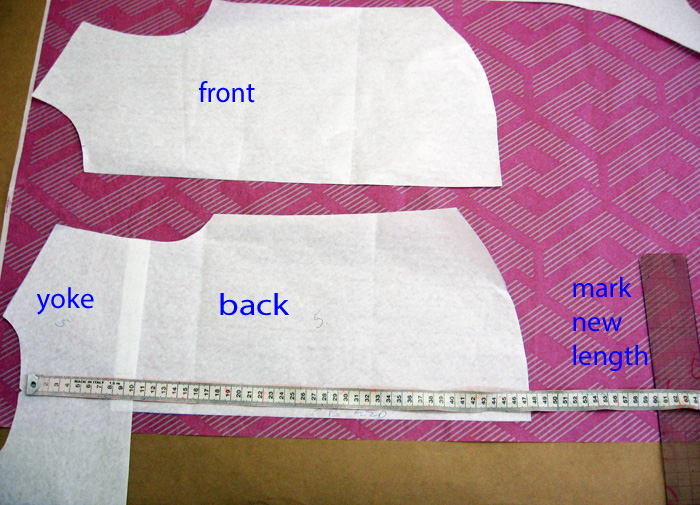 Lengthen the back of the pattern piece
