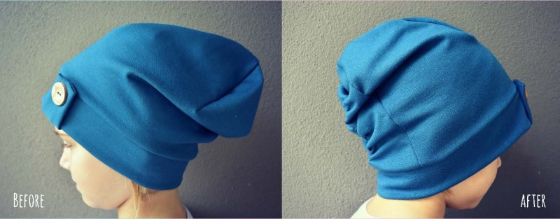 Elastic Back Enid Beanie before and after pattern hack