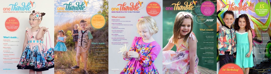 Covers Issue 1, 2, 3, 4, 5 One Thimble Digital Sewing Magazine