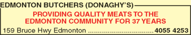 Donaghy's Edmonton Butchers Advert