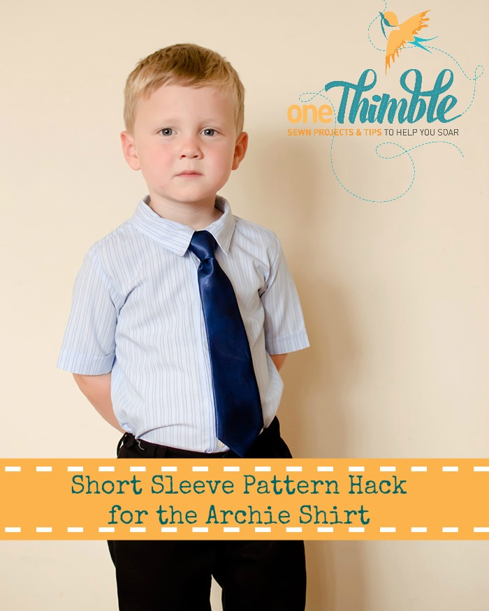 Short Sleeve Pattern Hack for the Archie Shirt www.onethimble.com.au