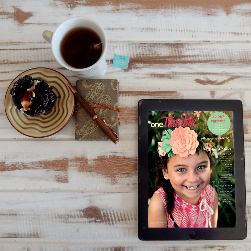 One Thimble Issue 8 on your tablet with a cuppa