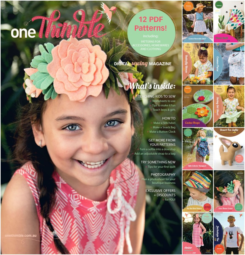 One Thimble Issue 8 and included PDF Sewing Patterns