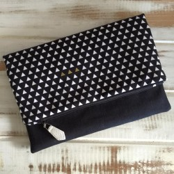 Four Corners - Triangle in Black Fold Over Clutch
