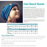 Fabric Requirements & Size Chart Enid Slouch Beanie