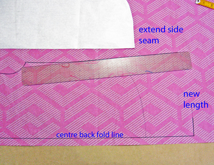 Complete the back pattern piece