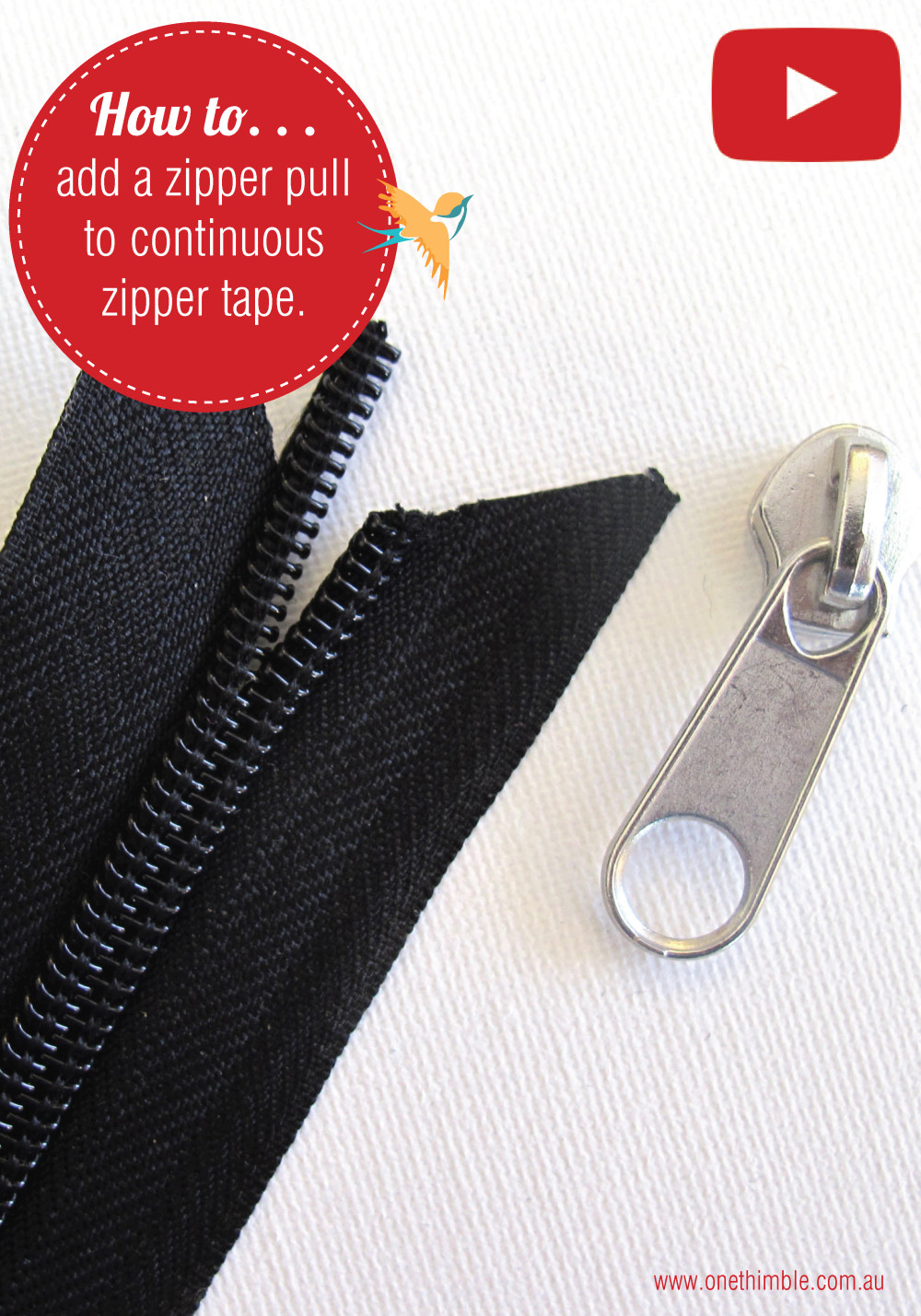 how to add a zipper pull to continuous zipper tape