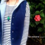 Women's hoodie vest - Fat red bird - One Thimble Issue 11