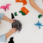 Kids playing with the 3D Felt Puzzle Animalds