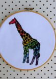 Giraffe - Rainbow Wild Animal Cross Stitch by Hugs are Fun for One Thimble Issue 11