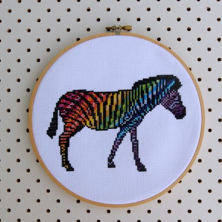 Zebra - Rainbow Wild Animal Cross Stitch by Hugs are Fun for One Thimble Issue 11