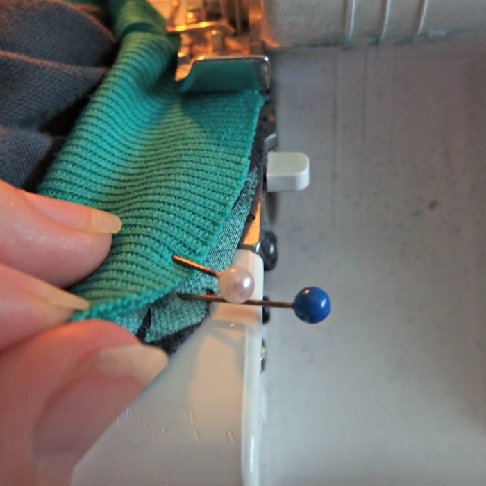 Sew the ribbing to the hoodie