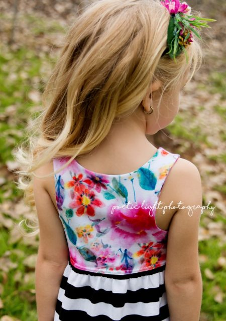 Thread Faction floral and stripe dress back