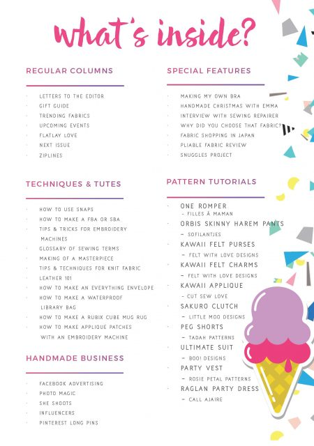 One Thimble Issue 13 Contents Page