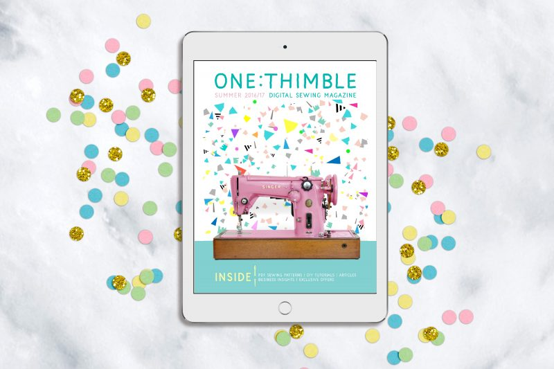 One Thimble Issue 13 cover on confetti background