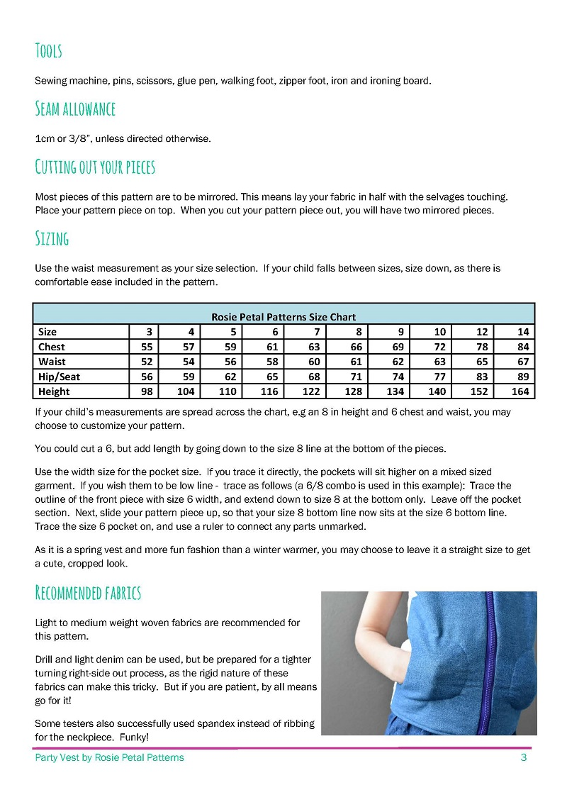 Sizing information for the Party Vest