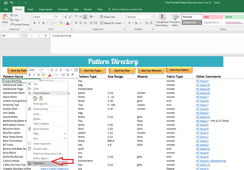 Step 1 of hyperlinking your pattern directory