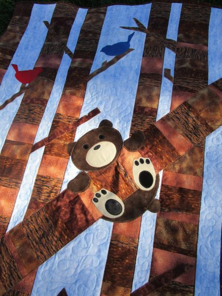 Timber! Quilt with brown bear