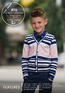 #116 V-Neck Cardigan PDF Sewing Pattern Cover