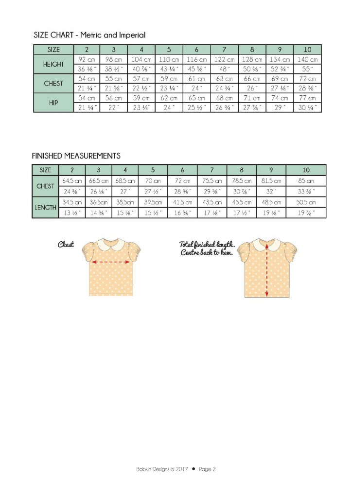 Phillipa Blouse Size chart