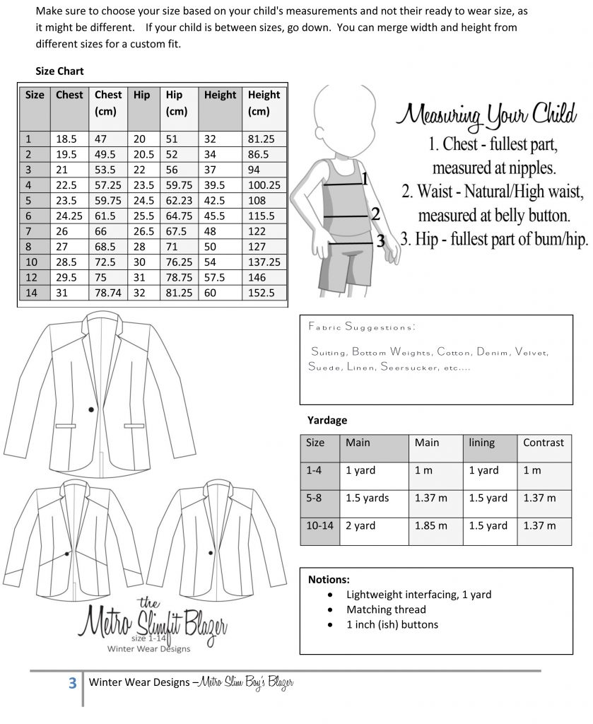 Metro Slimfit Blazer size chart and fabric requirements
