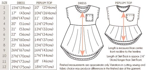 Pearlie Dress Garment Measurements Chart