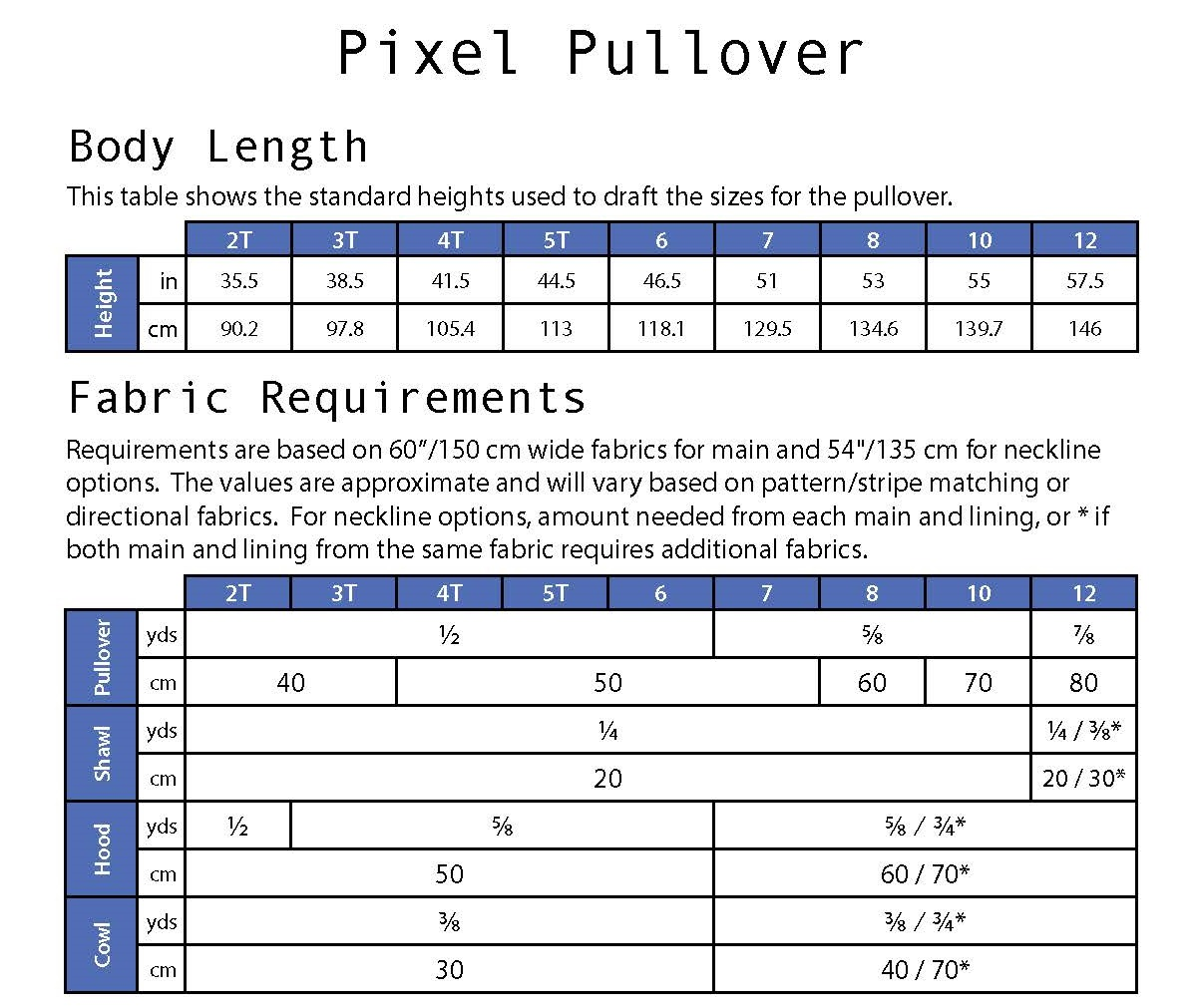 Pixel Pullover Jennuine Design fabric requirements