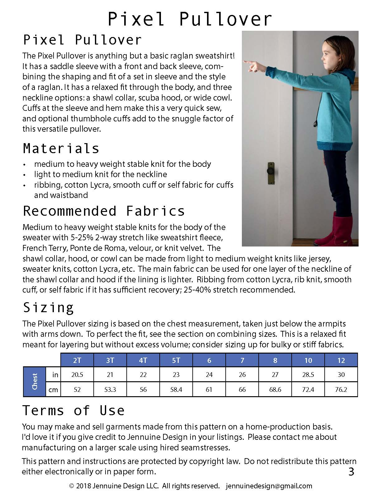 Pixel Pullover Jennuine Design recommended fabrics & sizing