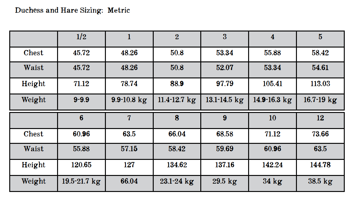 Monster Mash Metric sizing