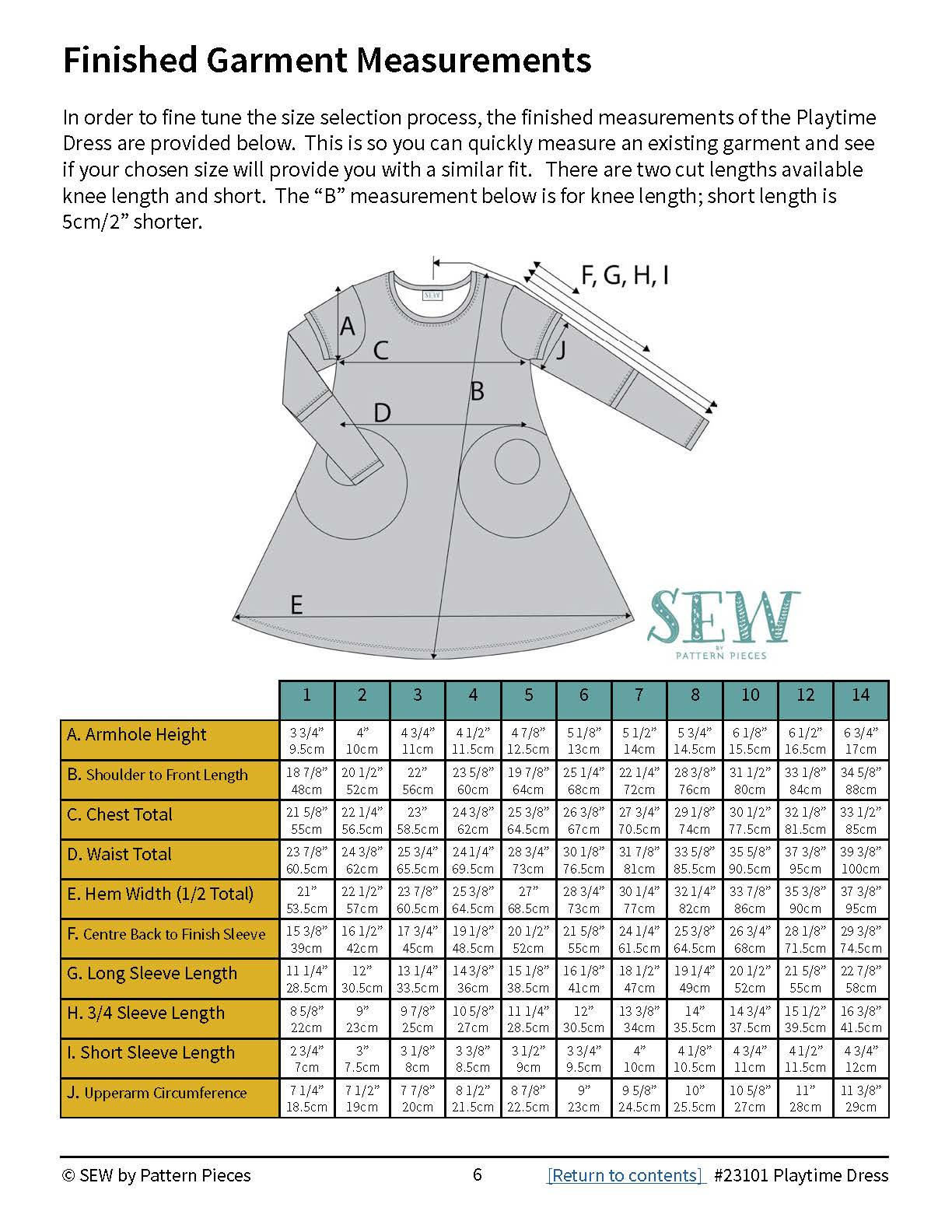 Playtime Dress finished garment measurements