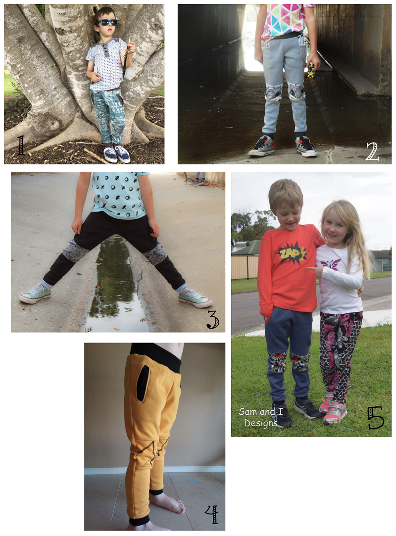 Selection of sews of the Alfie Sweatpants pattern