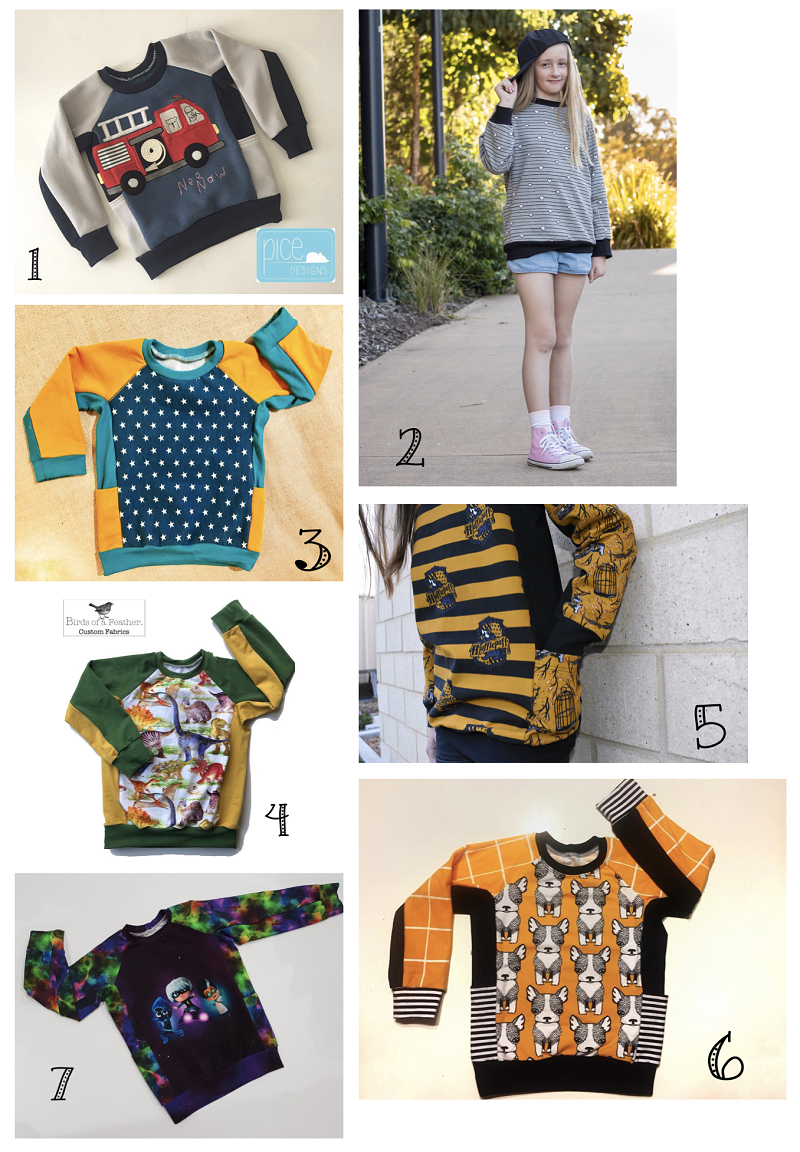 Selection of sews of the Beep Beep raglan sweater pattern