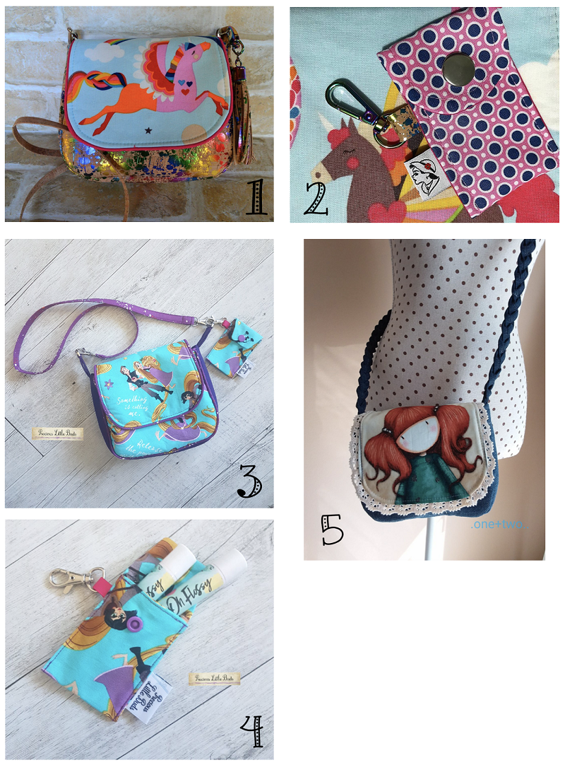 Selection of sews of the Pinky Promise bag pattern