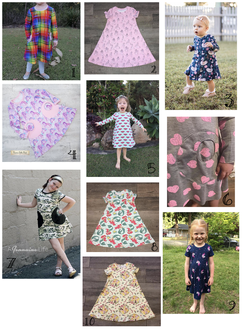 Selection of sews of the Playtime Dress pattern