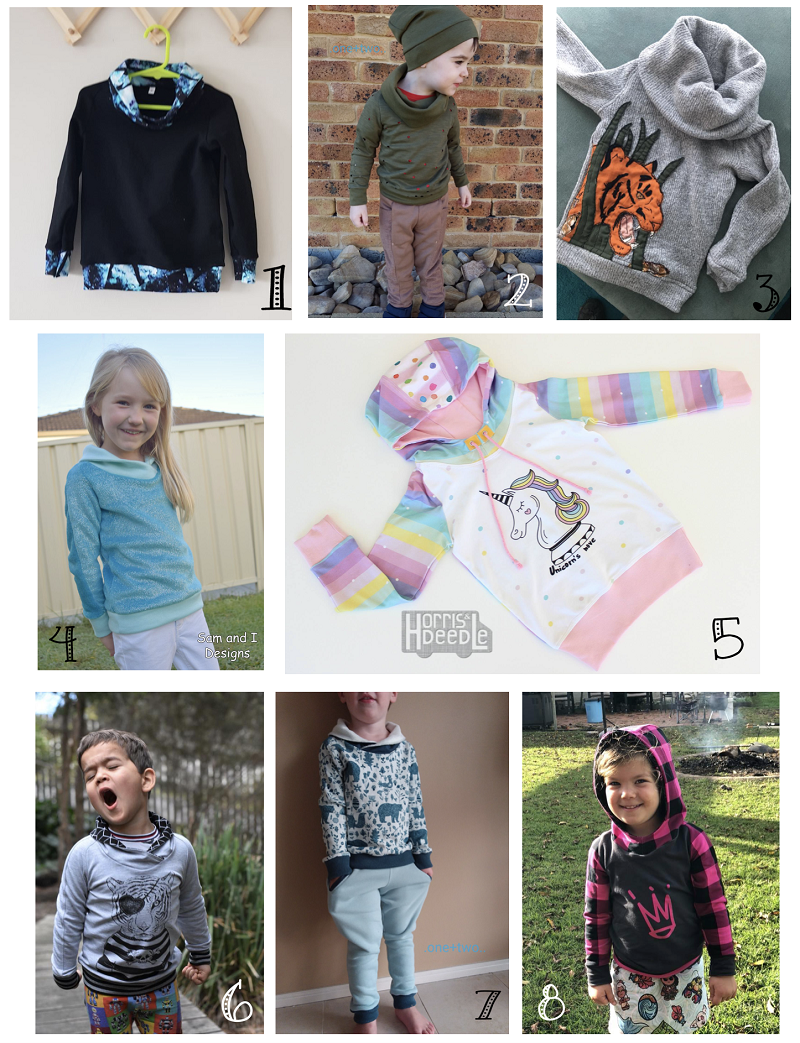 Selection of sews of the Pixel Pullover pattern
