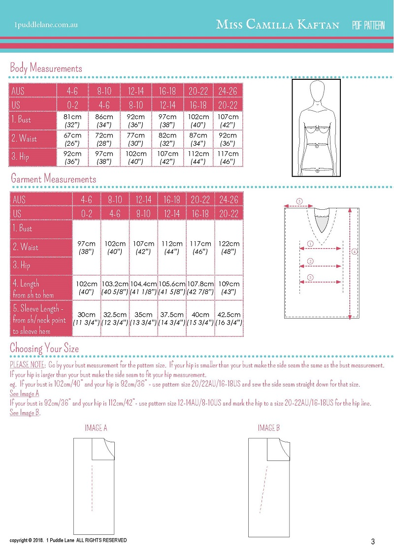 Miss Camilla sizing and fabric requirements