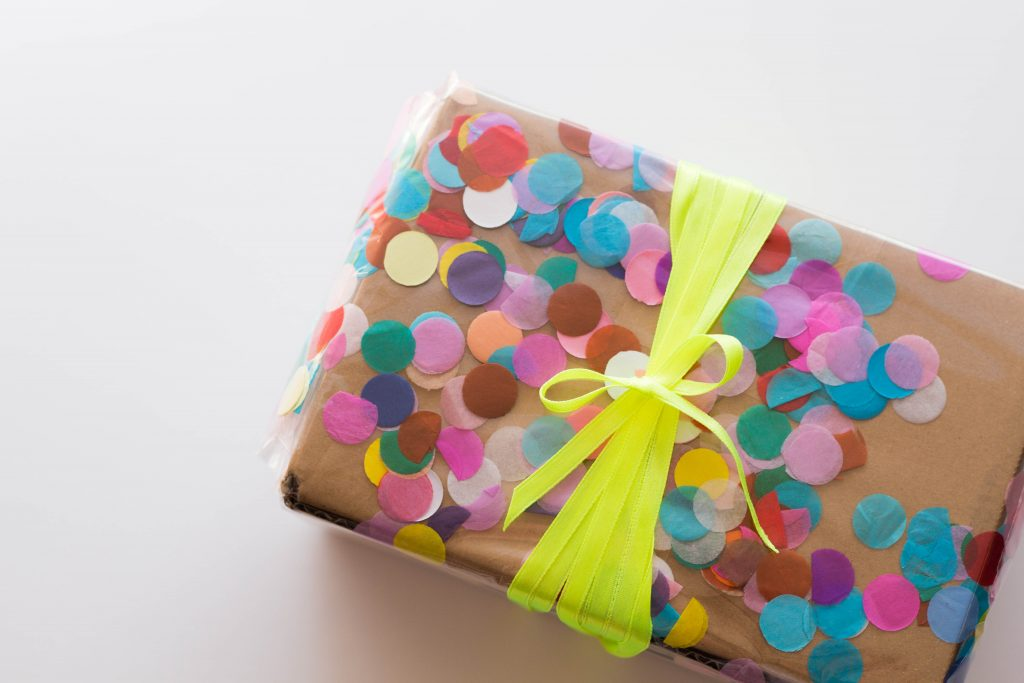 Use confetti to jazz up your handmade gift wrapping